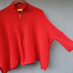 St John Ribbed Knit Red Dropped Sleeve Sweater Med